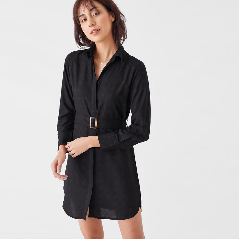 Black Geo Shirt Dress