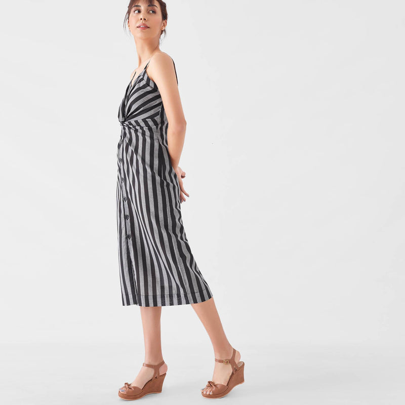Black & Grey Stripe Knotted Shirt Dress