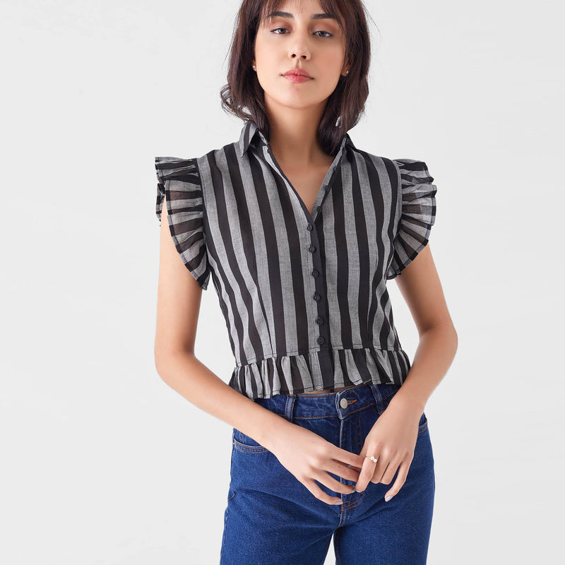 Black & Grey Stripe Ruffle Crop Shirt