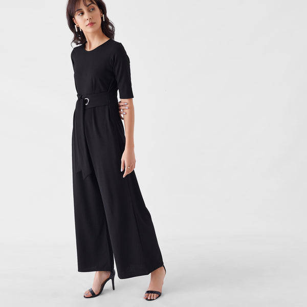 Black Herringbone Rivet Jumpsuit