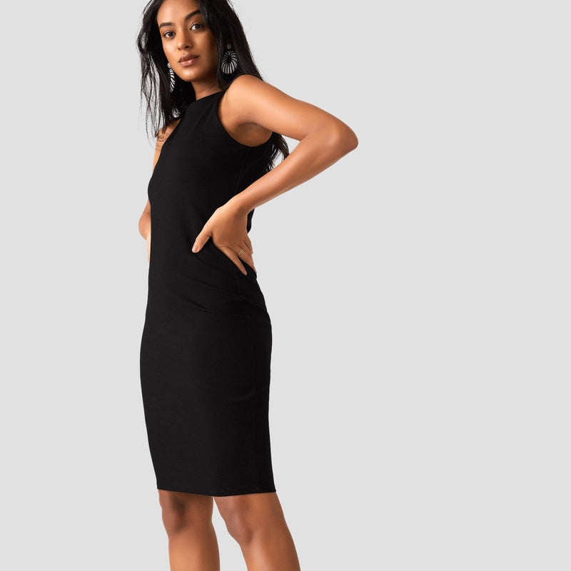 Black Jersey Halter Neck Dress