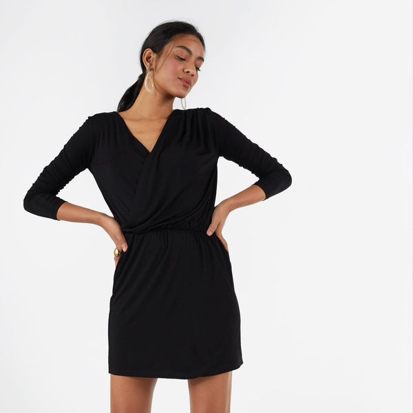Black Jersey Overlap Dress