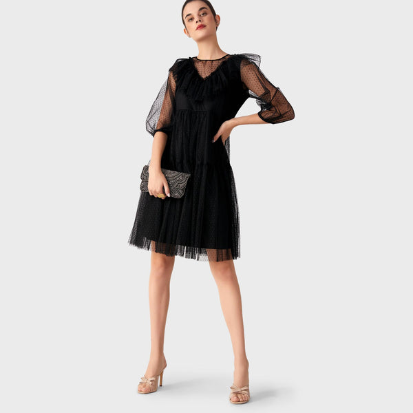 Black Mesh Ruffle Tiered Dress