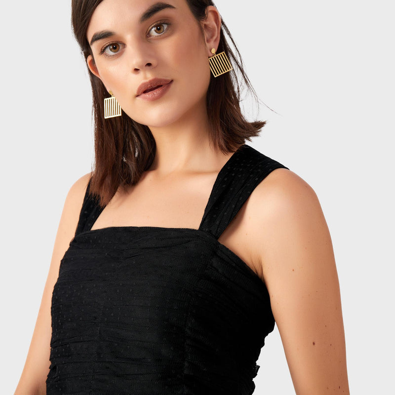 Black Mesh Sleeveless Top