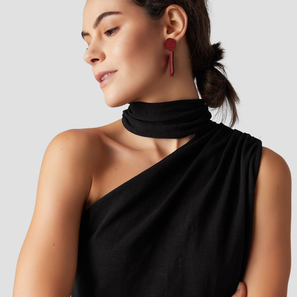 Black One Shoulder Scarf Tie Top