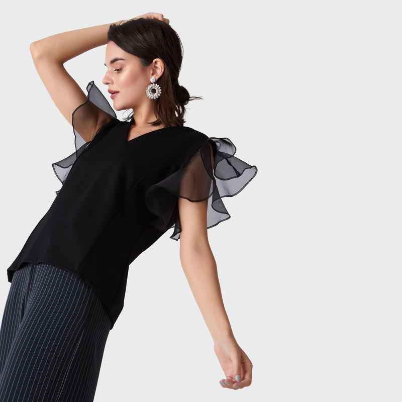Black Organza Ruffle Sleeve Top