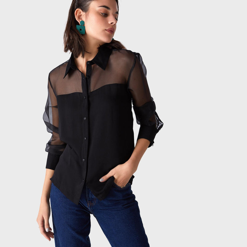 Black Organza Yoke Shirt
