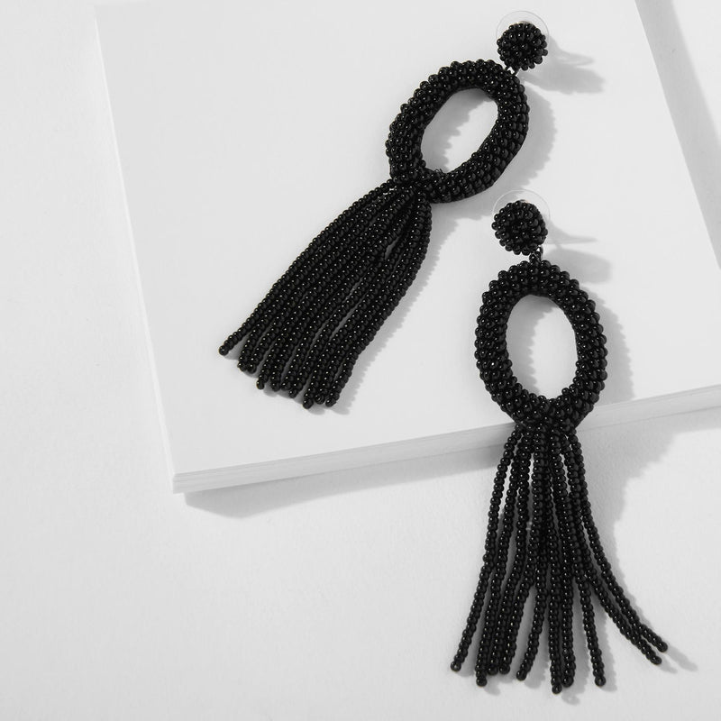 Black Oval Beaded Tassel Earrings