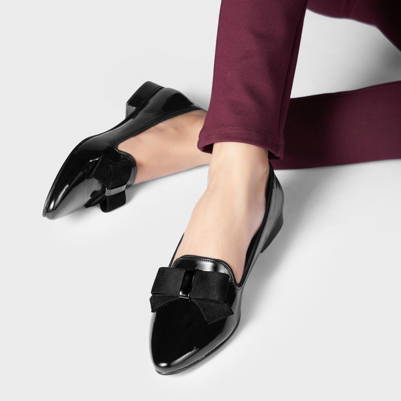 Black Patent Bow Loafers
