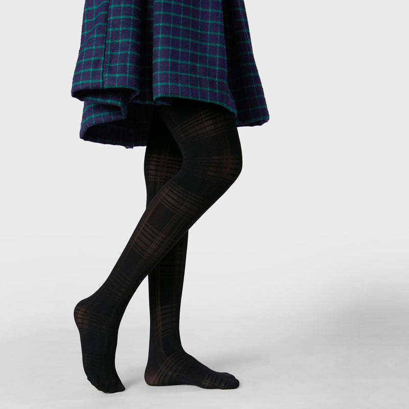 Black Plaid Textured Stockings