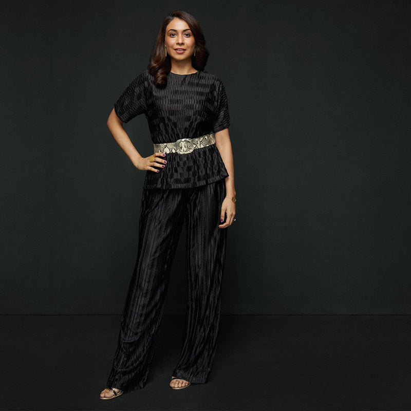 Black Pleated Pants