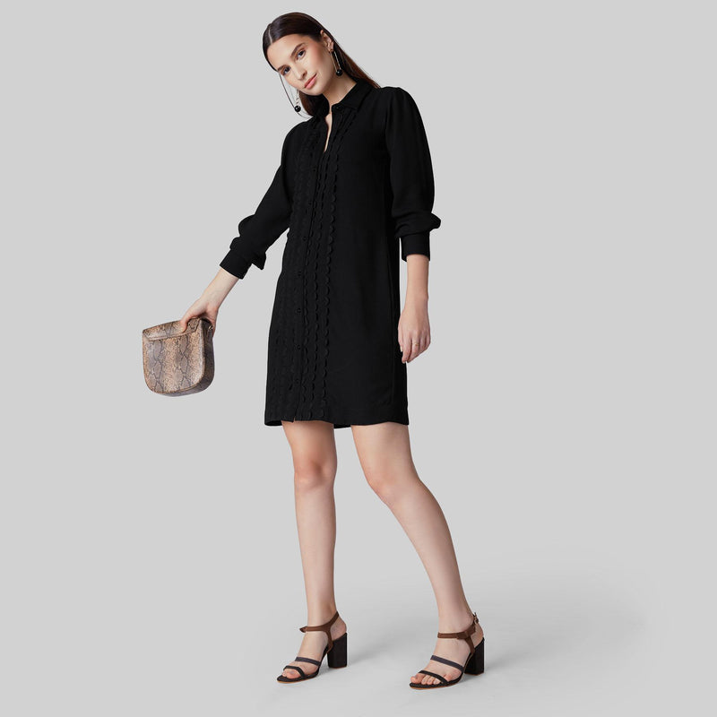 Black Ric Rac Lace Shirt Dress