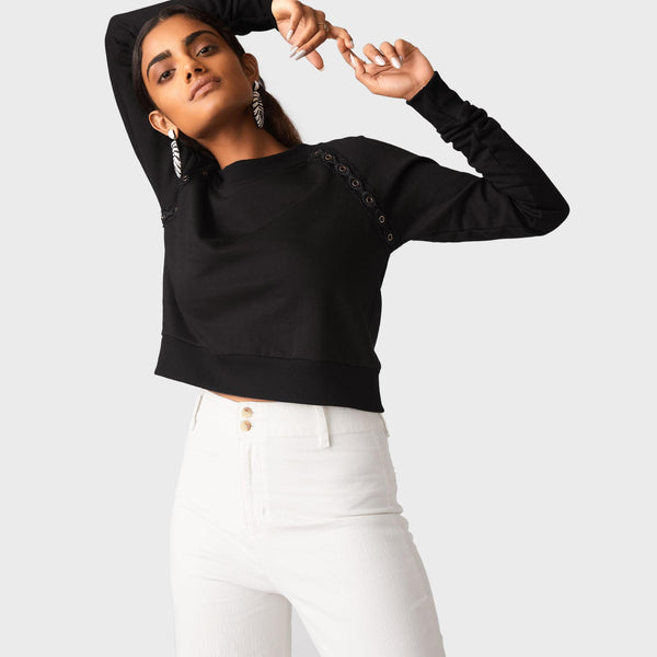 Black Rivet Crop Pullover