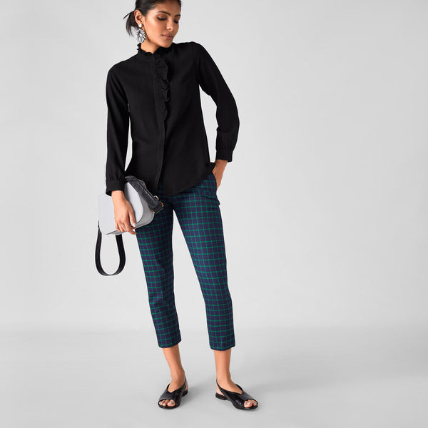 Black Ruffle Yoke Shirt