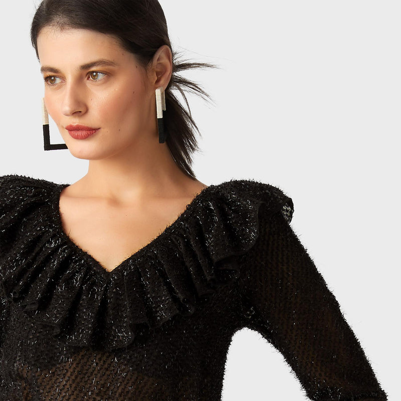 Black Shimmer Ruffle Neck Top