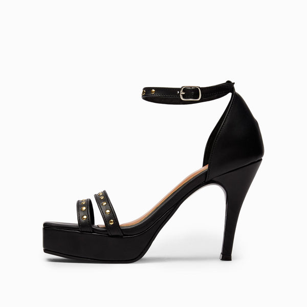 Black Studded Ankle Strap Stilettos