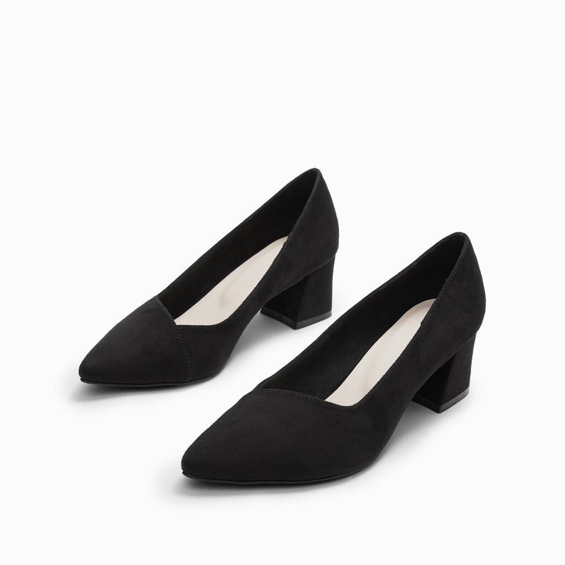 Black Suede Pointed Block Heels