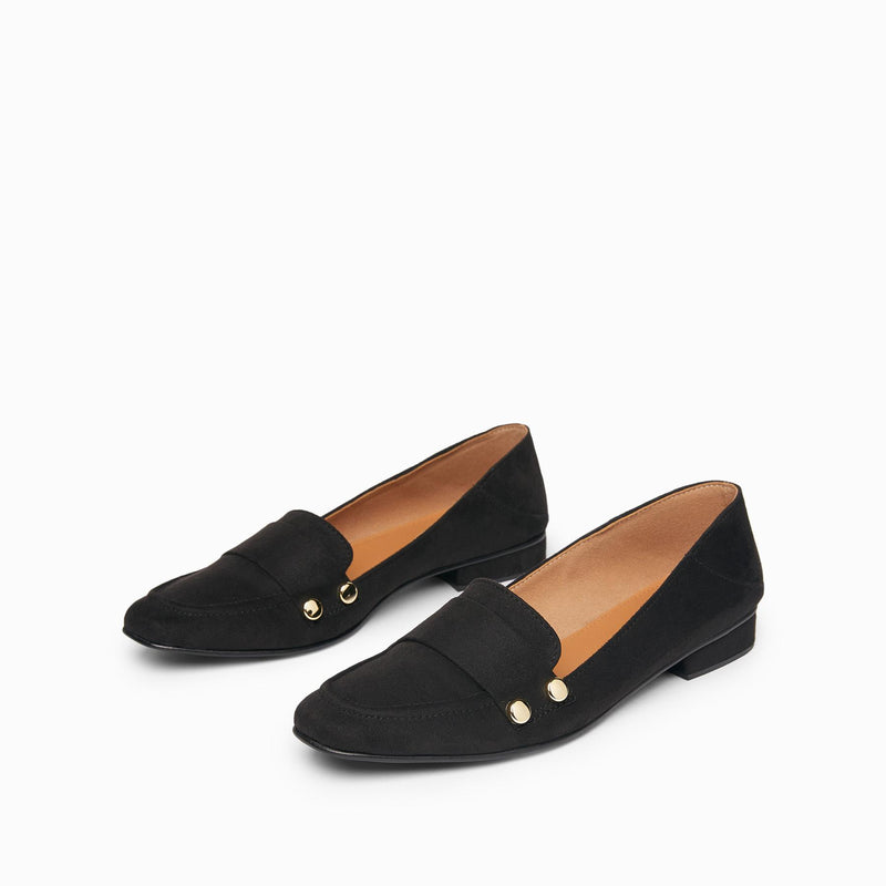 Black Suede Studded Loafers