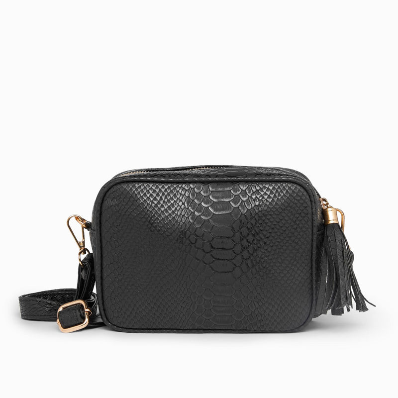 Black Textured Cross Body Belt Bag