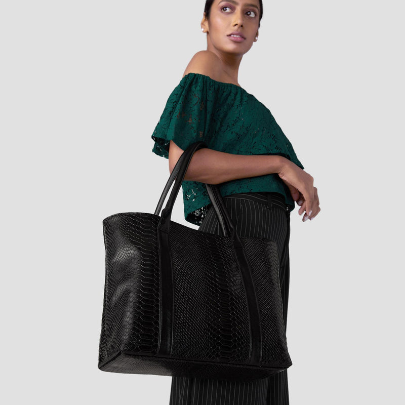 Black Textured Work Tote