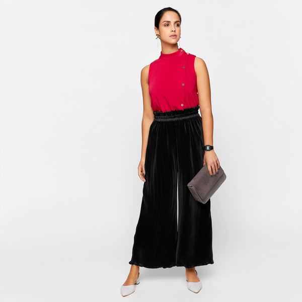 Black Satin Pleated Relaxed Pants