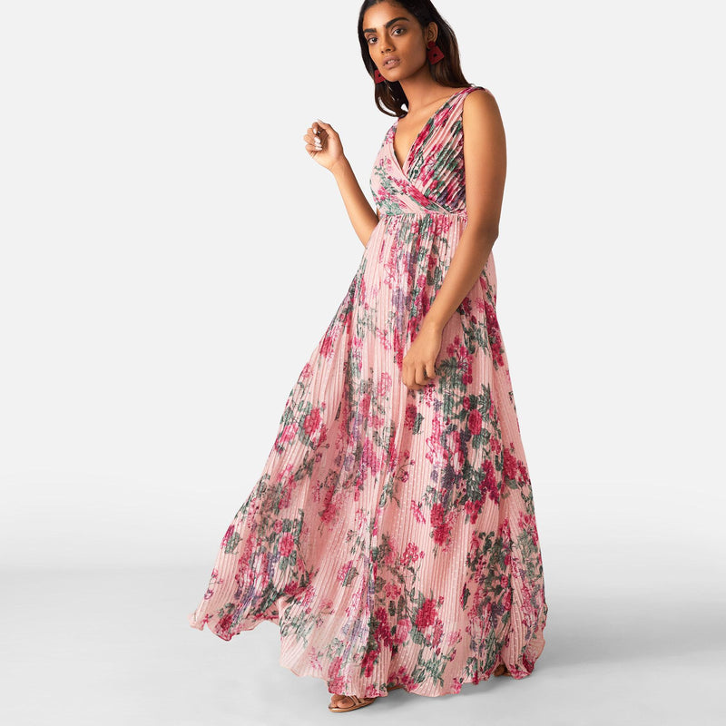 Blush Bouquet Pleated Maxi