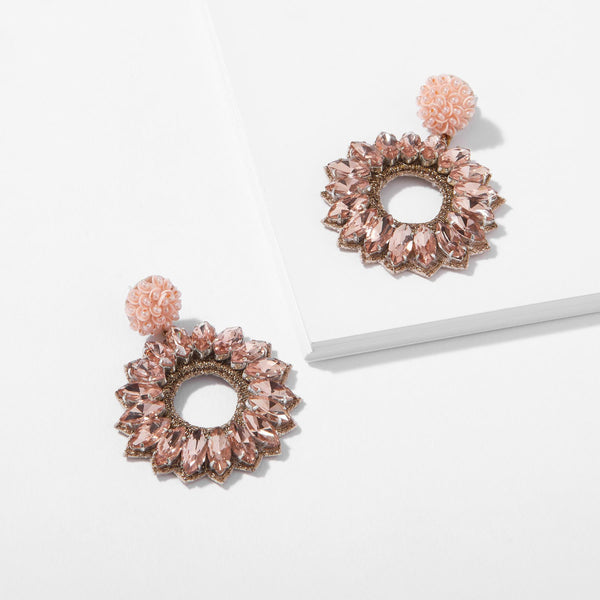 Blush Crystal Flower Earrings