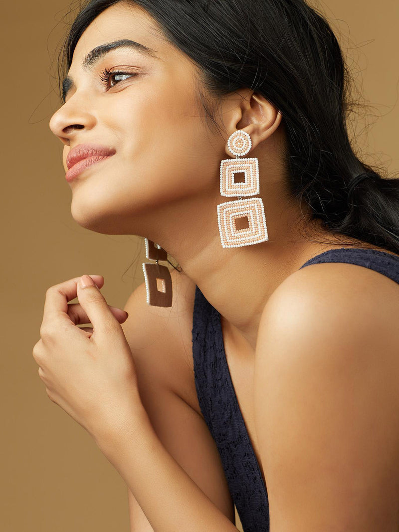 Blush Dual Square Beaded Earrings