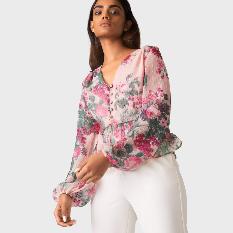 Blush Floral Ruffle Hem Top