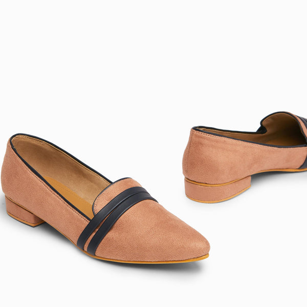 Blush & Navy Suede Loafers