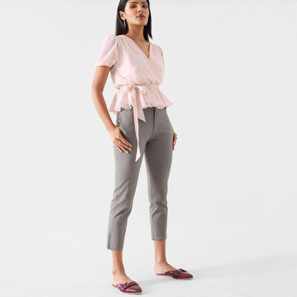 Blush Overlap Peplum Top