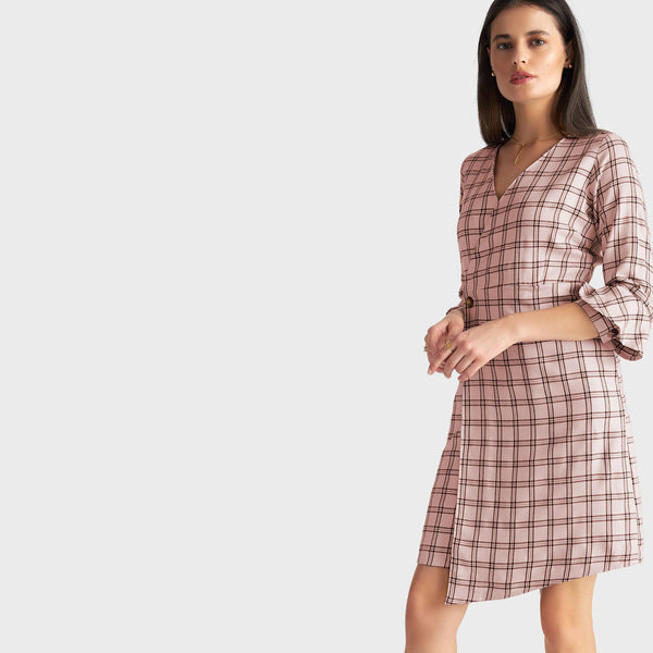 Blush Plaid Overlap Dress
