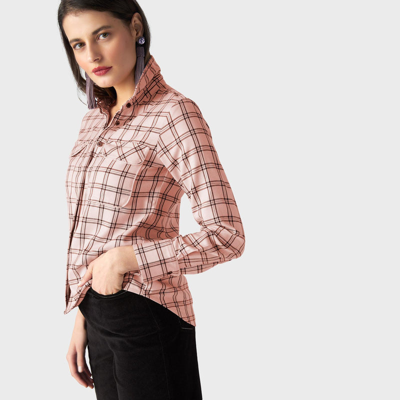 Blush Plaid Shirt