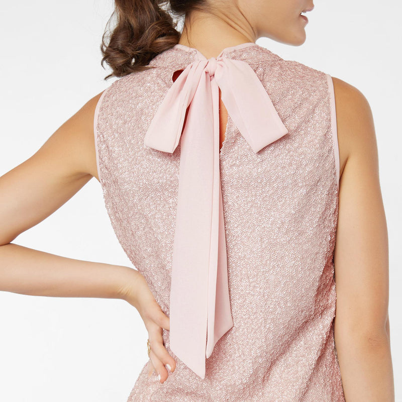 Blush Sequinned Back Tie Top