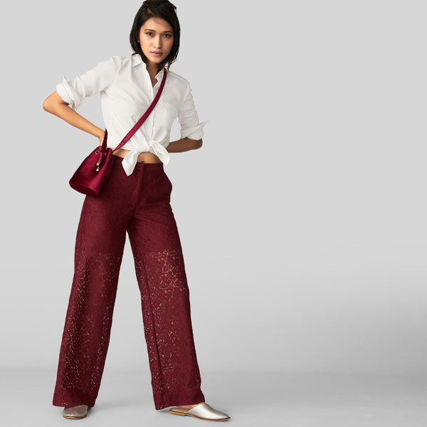 Burgundy Lace Relaxed Pants