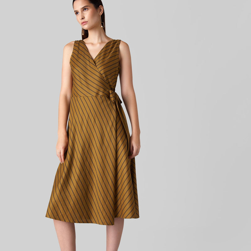 Camel Striped Wrap Dress