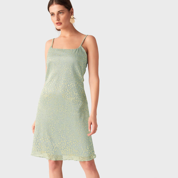 Champagne & Sage Pleated Dress