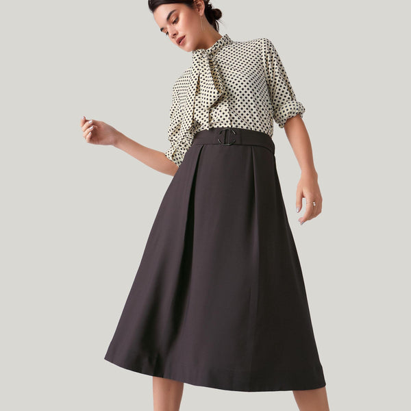 Charcoal Belted Midi Skirt