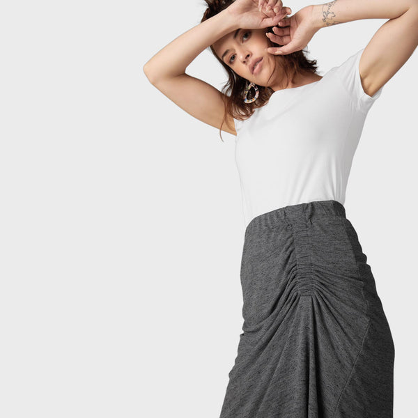Charcoal Jersey Gathered Skirt