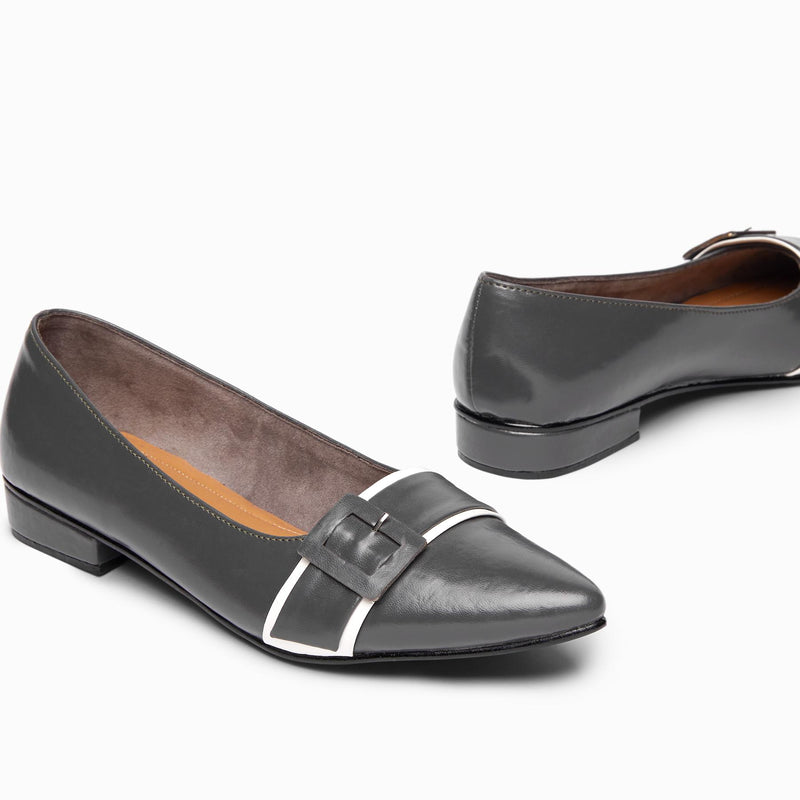 Charcoal Pointed Buckle Ballet Flats
