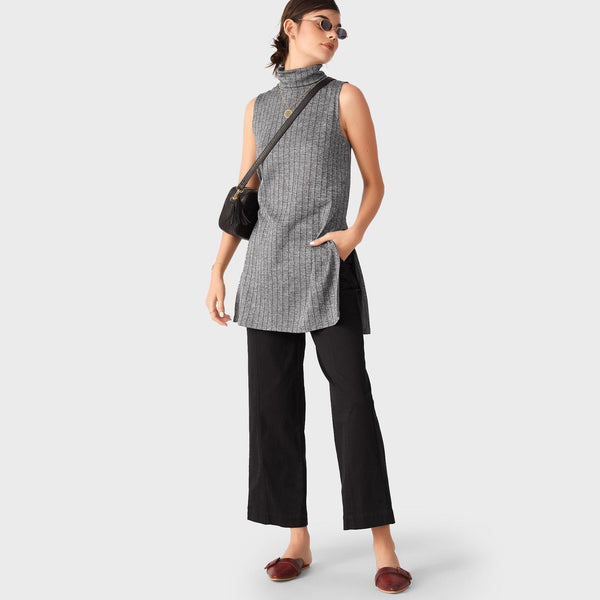 Charcoal Striped Polo Neck Top