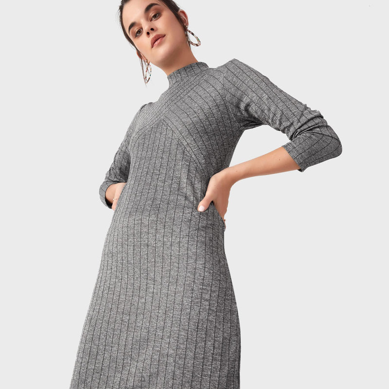 Charcoal Striped Shift Dress