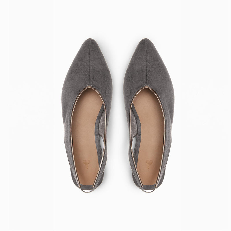 Charcoal Suede Pointed Flats