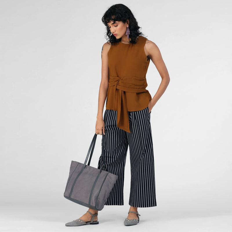 Cinnamon Sleeveless Belted Top
