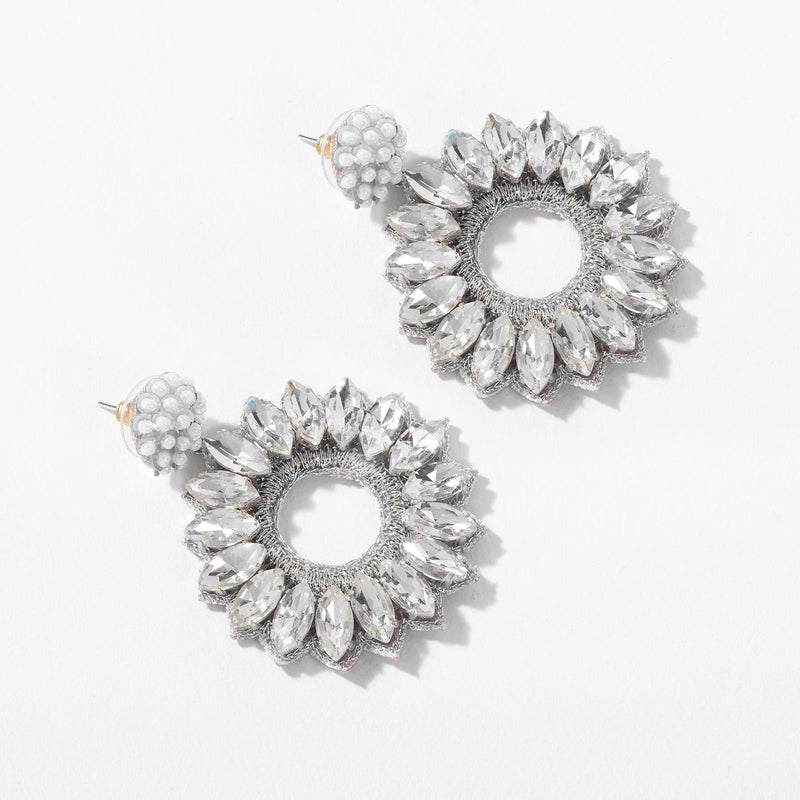 Clear Crystal Flower Earrings