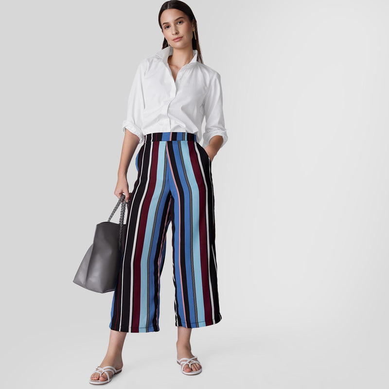 Cobalt Striped Flare Pants