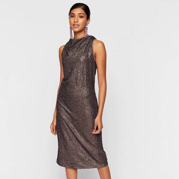 Copper Sequinned Shift Dress