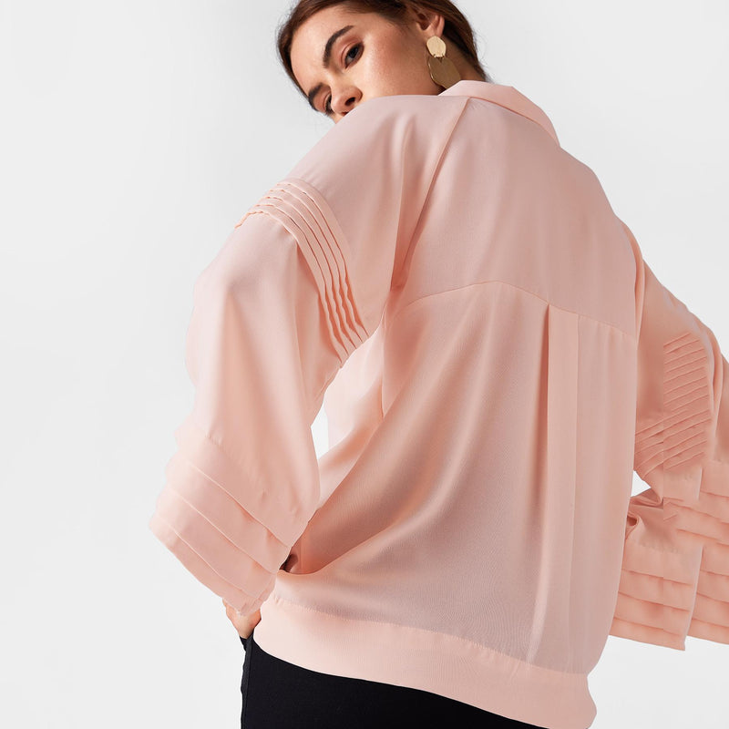 Cotton Candy Pleated Sleeve Top