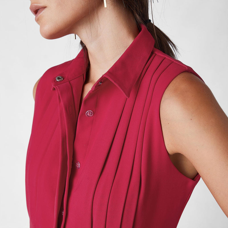 Cranberry Sleeveless Pleated Dress