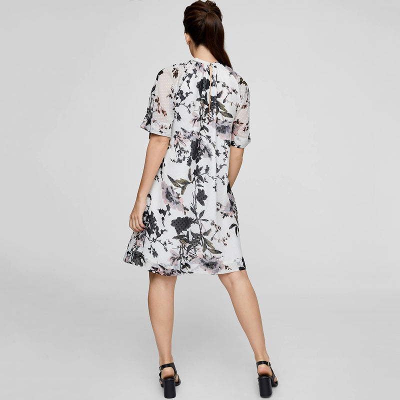 Garden High Neck Gathered Dress
